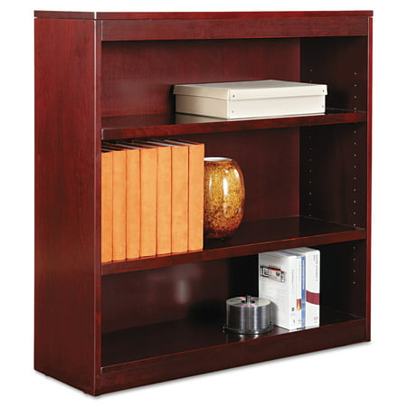Alera Square Corner Wood Veneer Bookcase, Three-Shelf, 35-5/8 x 11-3/4 x 36, Mahogany