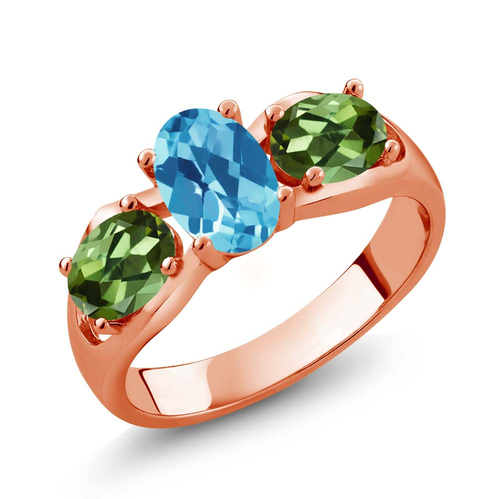 1.95 Ct Oval Checkerboard Swiss Blue Topaz Green Tourmaline 18K Rose Gold Ring by