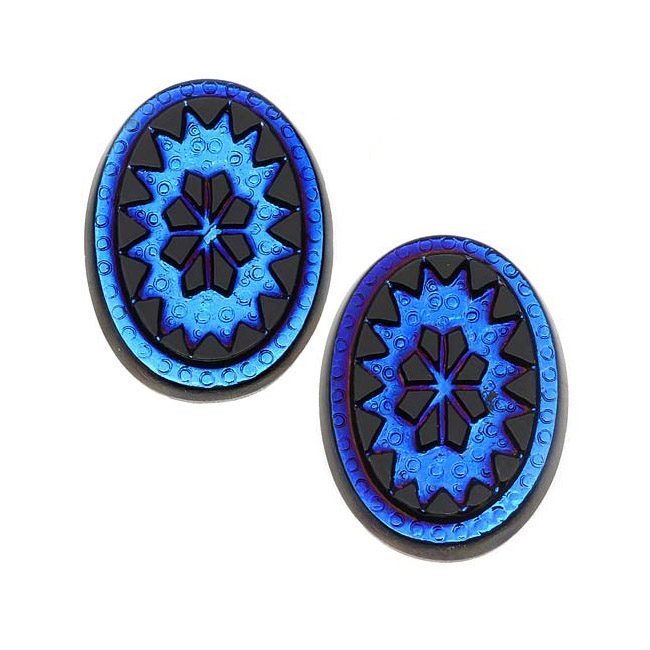 Czech Glass, Vintage Style Victorian Intaglio Oval Cabochons 18x13mm, 2 Pieces, Scarab Blue on Jet