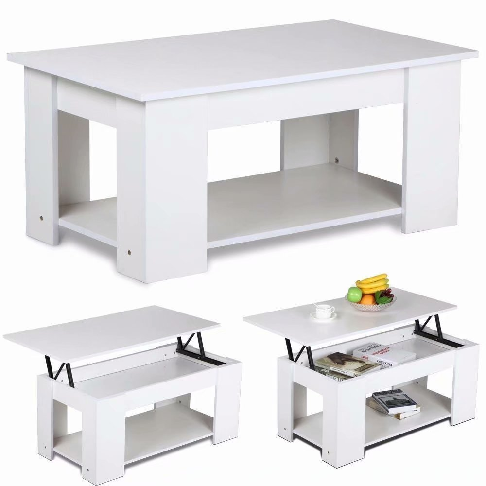 Lift Top Coffee Table With Hidden Storage Compartment: Lift-up Top Coffee Table Hidden Storage Compartment White