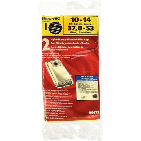 Shop-Vac 9067200 Genuine 10-14-Gallon High Efficiency Disposable Collection Filter Bag, 2-Pack
