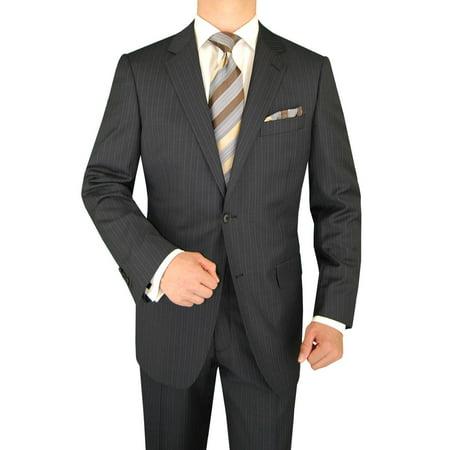 Super 150's Italian Wool - LN LUCIANO NATAZZI Italian Men's Suit 160'S Canali Cashmere Wool 2 Button Stripe Gray Stripe