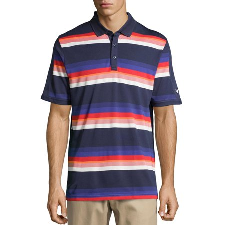 Callaway Striped Pique Performance Golf Polo Shirt Large L Mood Indigo