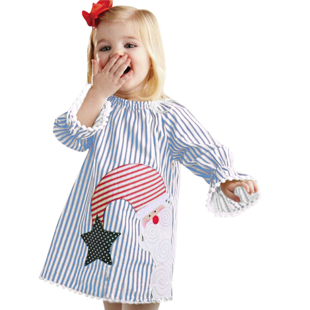 Mosunx Toddler Kids Baby Girls Santa Striped Princess Dress Christmas Outfits Clothes
