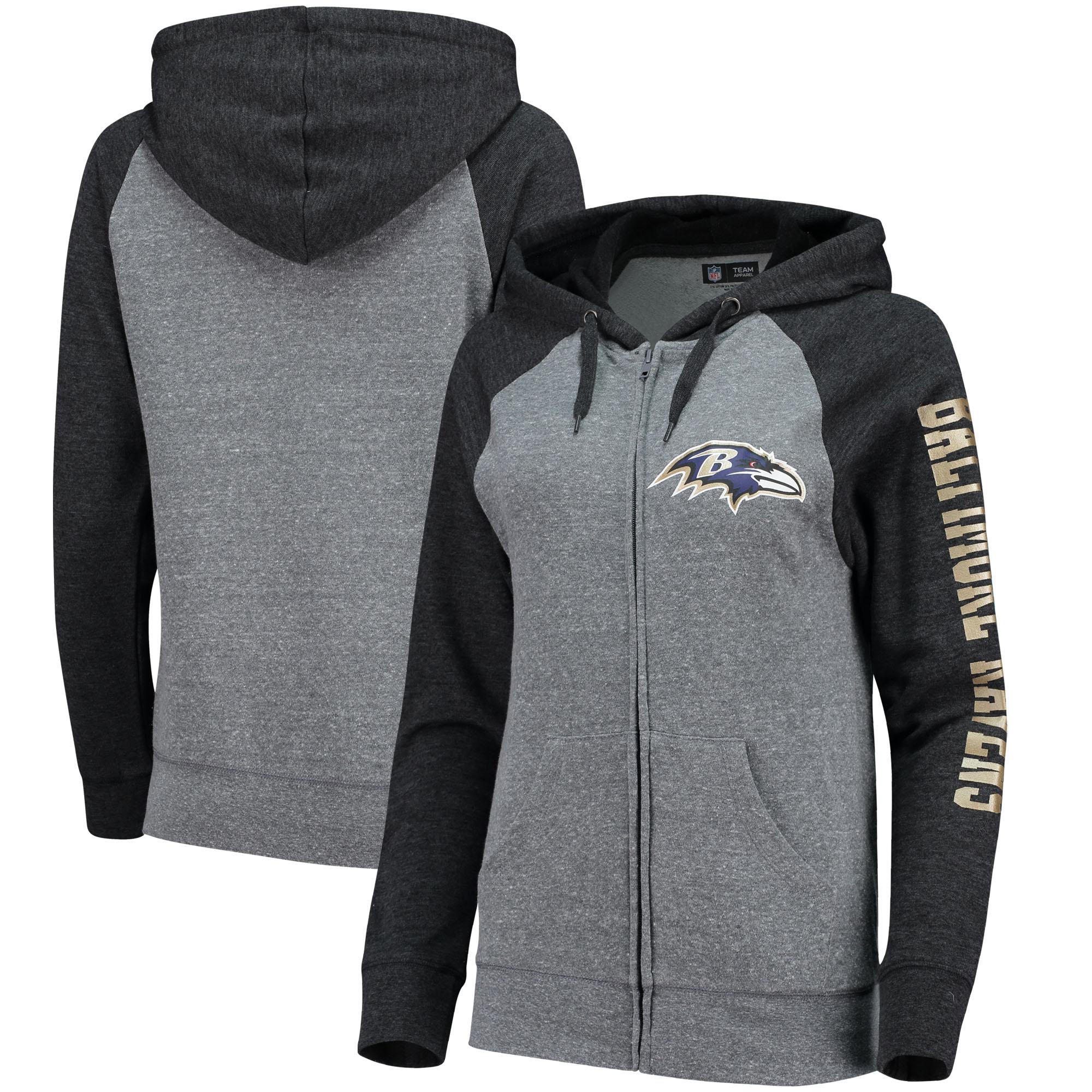Baltimore Ravens 5th & Ocean by New Era Women's Fleece Tri-Blend Raglan Sleeve Full-Zip Hoodie - Heathered Gray/Black