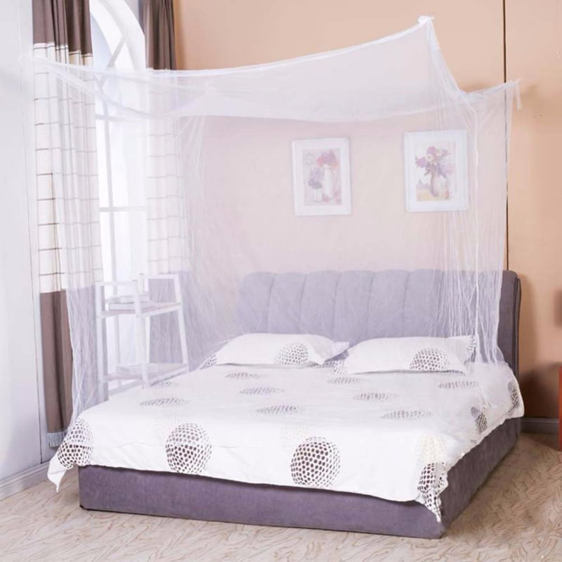 4 Corners Post White Canopy Bed Curtain For Girls Adults Cute Cozy Drape Square Netting For Twin Bed Princess Bedroom Decoration Walmart Com Walmart Com