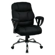 Executive Big Man's Office Chair with Mesh Seat and Back, Black