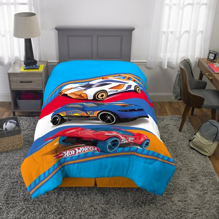 Hot Wheels Twin/Full Kids Reversible Comforter and Sham Bedding Set, Fast Pace