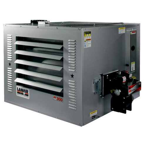 Lanair Products, LLC MX-Series 300,000 BTU Waste Oil Forced Air Cabinet Heater with Wall Chimney