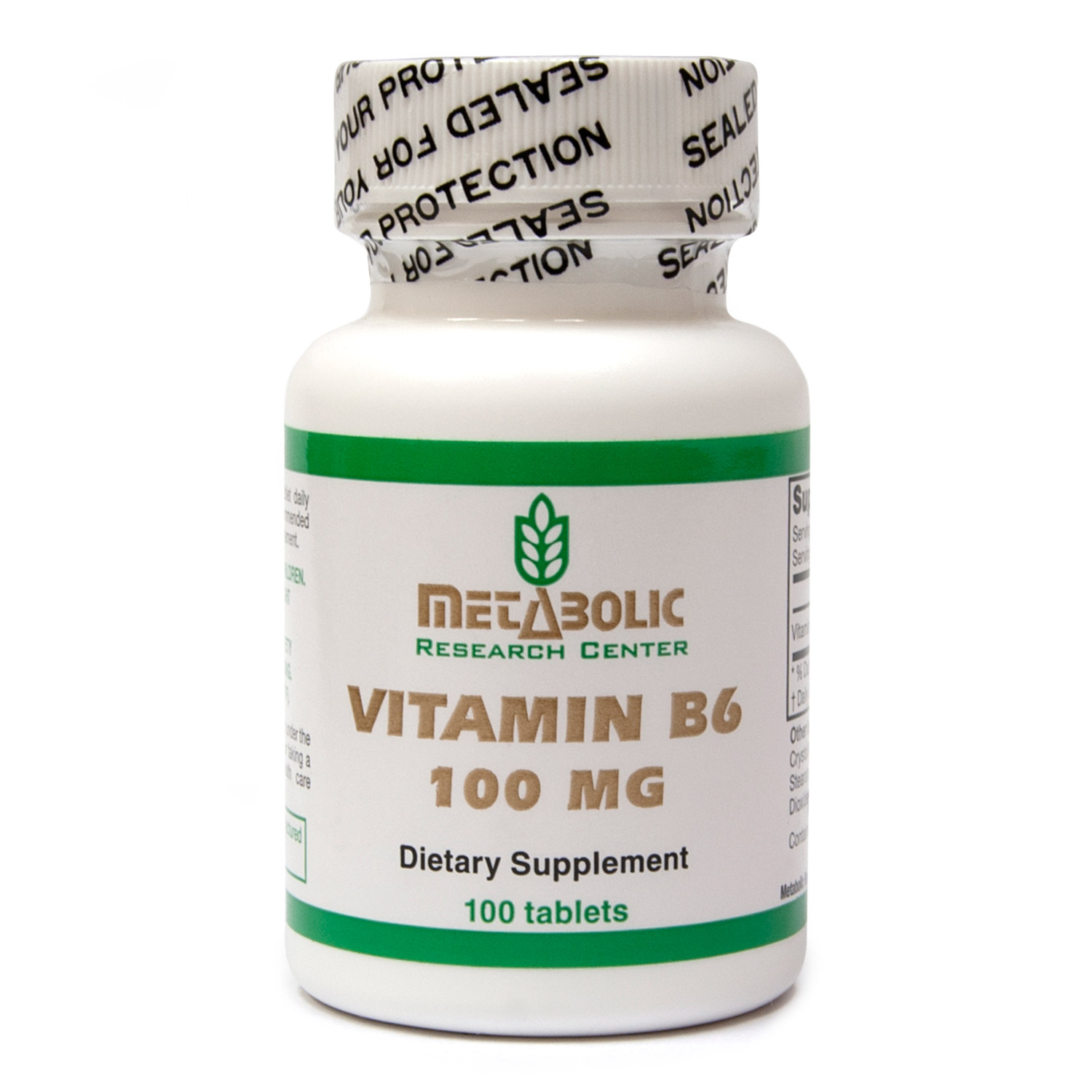 Vitamin B6 by Metabolic Research Center, Dietary Supplement, 100 count
