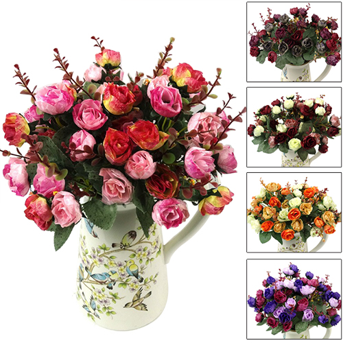 Heepo 1 Bouquet 21 Head Artificial Rose Silk Flower Leaf Home Party Wedding Decor