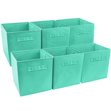 Sorbus? Foldable Storage Cube Basket Bin (6 Pack, Teal)