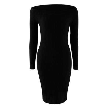 Women Sexy Off Shoulder Long Sleeve Pencil Bodycon Knit Sweater Clubwear Dress