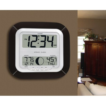 La Crosse Technology WS-8418U-IT Atomic Digital Wall Clock with Moon Phase - 10.25 Inches Wide (Black Cloak For Sale)