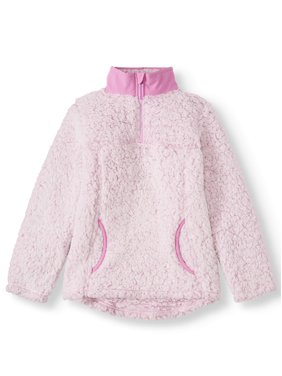 Wonder Nation Quarter Zip Sherpa Pullover (Little Girls & Big Girls)