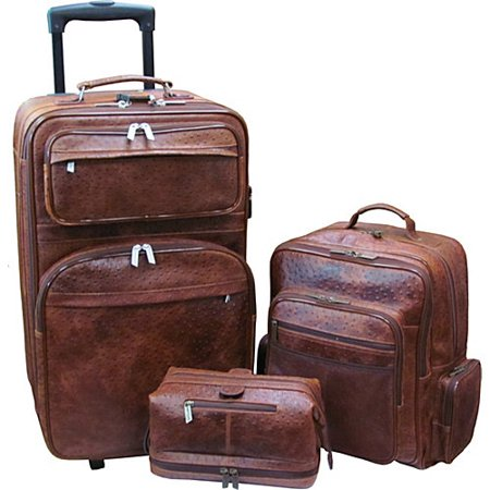 AmeriLeather Traveler 3-Piece Brown Ostrich Print Luggage Set
