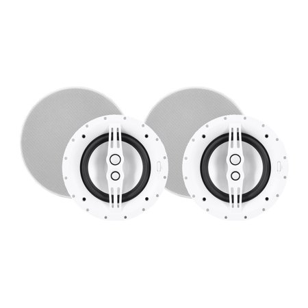 - Monoprice 3-way Architectural Ceiling Speakers -8in With Micro Ceramic Composite Mid and Tweeter (Pair) | Aluminum - Sycamore Series