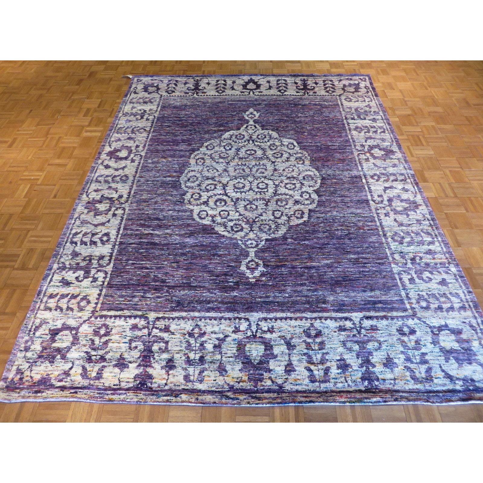 Oriental Rug Galaxy Oriental Purple Bamboo Silk Hand-knotted Rug (8'1 x 10'8)