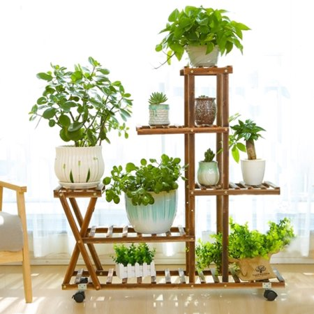 4-Layer Wooden Bamboo Plant Stand Flower Pot Shelf With Wheels Indoor Outdoor Garden Planter for Living Room Balcony Patio Yard ()