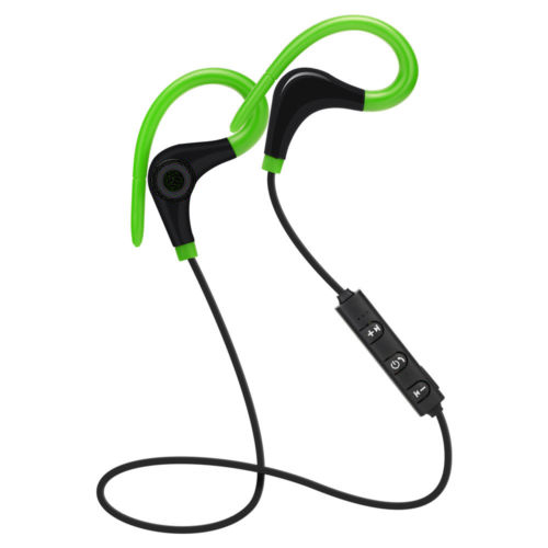 Bluetooth Wireless Stereo Earbuds IPX4 Sweatproof Sport Earphones with Mic Secure Earhook for Cell Phone, Tablet Color:Green