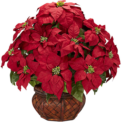 Nearly Natural Poinsettia with Decorative Planter Silk Arrangement