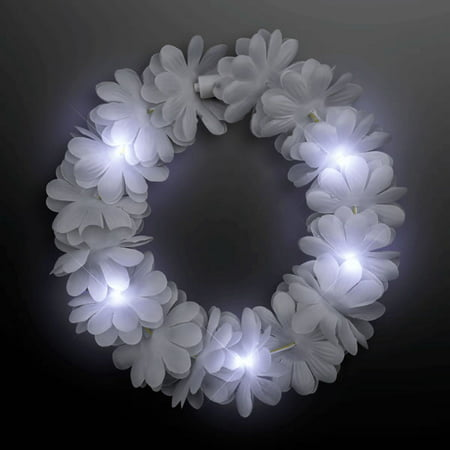 Light Up Flashing Wedding White Flower Princess Angel Halo Crown Headband by Blinkee (Flower Halo Headband)