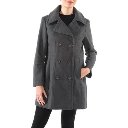 Alpine Swiss Norah Womens Wool Coat Double Breasted Peacoat Jacket Overcoat