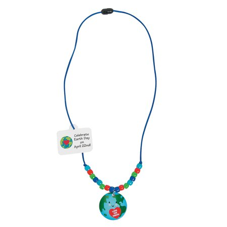 Fun Express - Earth Day Bead Necklace CK-12 - Craft Kits - Kids Jewelry Craft Kits - Kids Necklace - 12