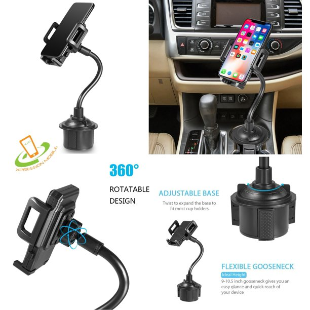 Universal Adjustable Long Arm Gooseneck Phone Cup Holder Car Mount For All  Smartphones Tablet GPS 360° Rotatable Cradle Suction Car Cup Mount Cell  Phone Holder / Stand With Quick Release Button -
