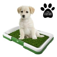 Puppy Potty Trainer- Artificial Grass Mat, Tray & 5 Extra Replacement Turf Pads- Portable Indoor Toilet Training for Puppies & Small Pets by PETMAKER