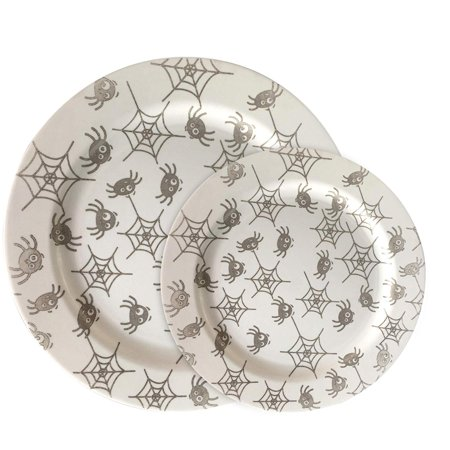 Divine Dinner Party Halloween (Party Joy 30-Piece Plastic Dinnerware Set | Halloween Plates | Fun Spider Webs Collection | (15) 10.25