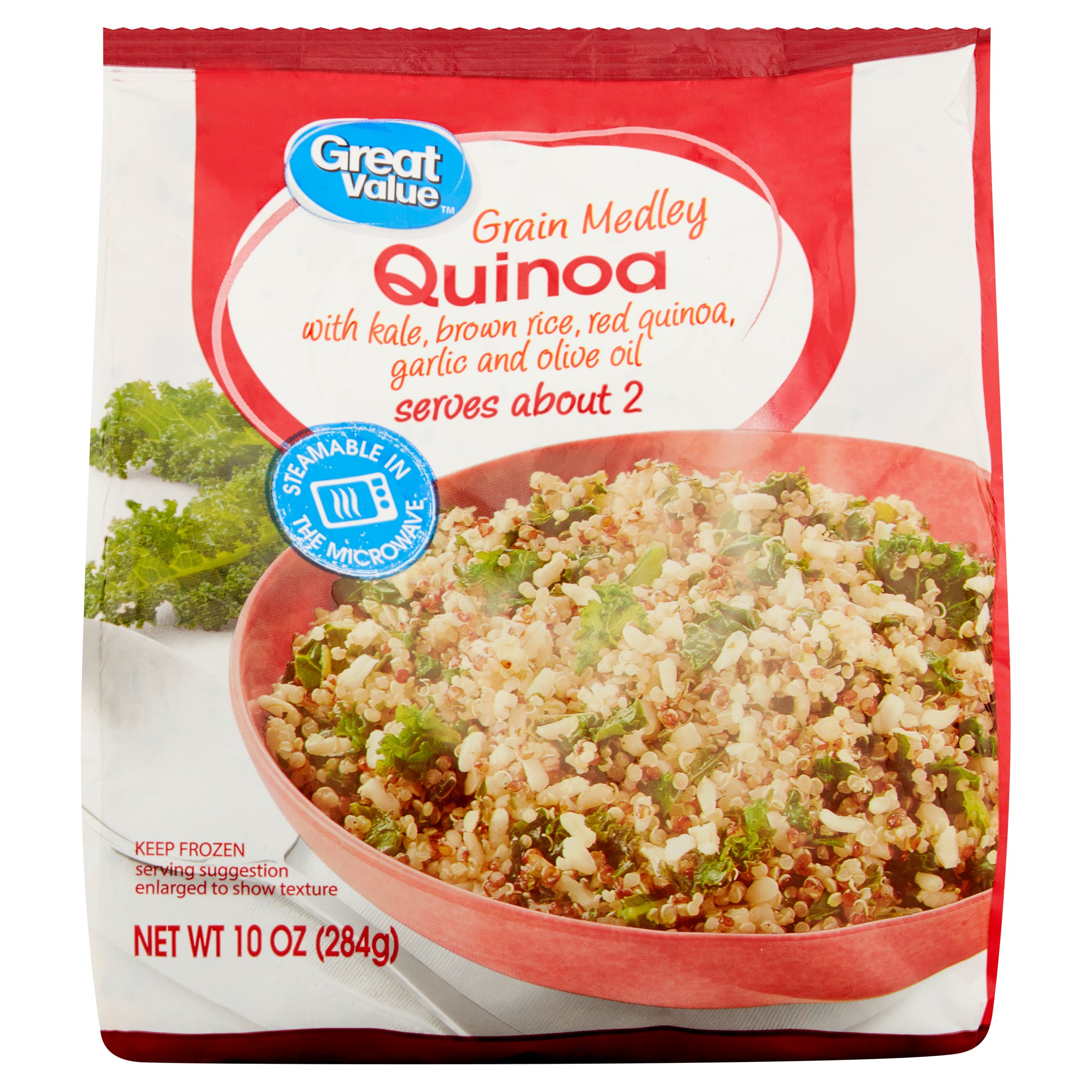 Great Value Grain Medley Quinoa with Kale, Brown Rice, Red Quinoa, Garlic and Olive Oil, 10 oz
