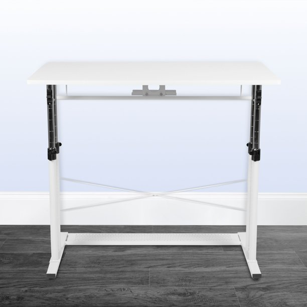"""Flash Furniture Height Adjustable (27.25-35.75""""H) Sit to Stand Home Office Desk - White"""