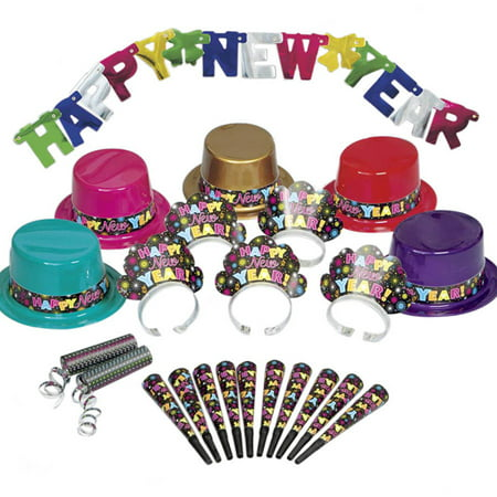 Colorful New Years Eve Party Supplies Kit for 10 - Party City New Years Decorations