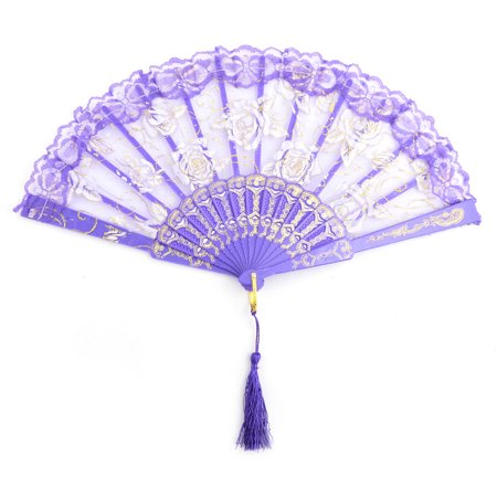 Women Plastic Frame Rose Pattern Folding Dancing Hand Fan Purple 23.8cm Length - Plastic Hand Fans