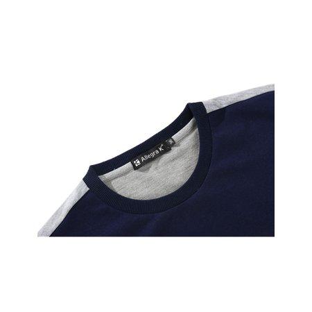 Allegra K Bloc Couleur Hommes Col Ras Du Cou Pull-over Manches Longues Garnitures Nervuré T-shirt - image 5 de 7
