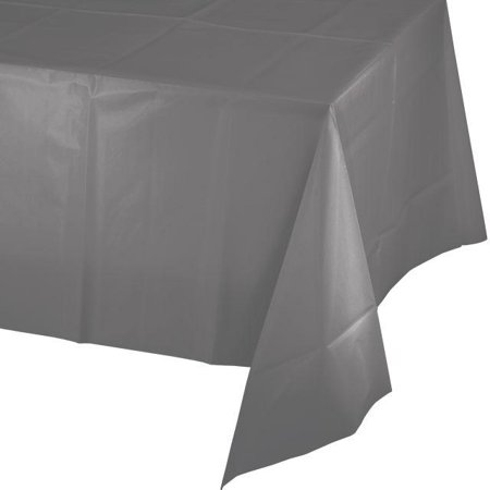 Grad Table Cover - Creative Converting Glamour Gray Tablecover Plastic 54