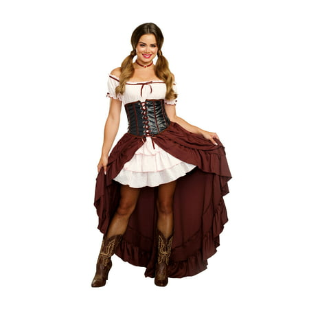 Western Saloon Halloween Costumes (Dreamgirl Women's Saloon Gal Authentic Wild West)