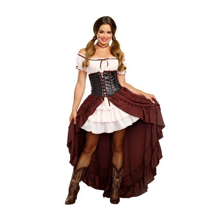 Dreamgirl Women's Saloon Gal Authentic Wild West Costume](Plus Size Saloon Girl)