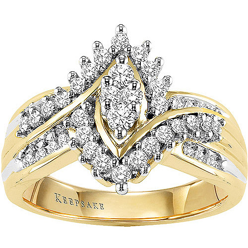Keepsake Shimmering 1 2 Carat T.W. Diamond, 10kt Yellow Gold Ring by Frederick Goldman Inc.