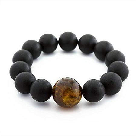 Handmade Baltic Amber Bracelet (The Art of Cure Baltic Amber bracelet 8 Inch (black w/honey amber) - Anti-inflammatory)