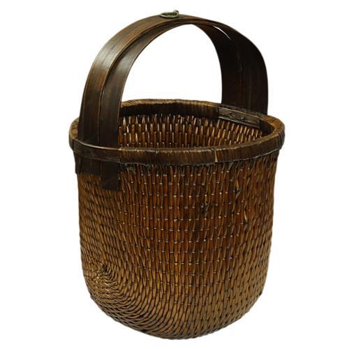 Franklin Handwoven Aqua Wicker Vegetable Basket Natural