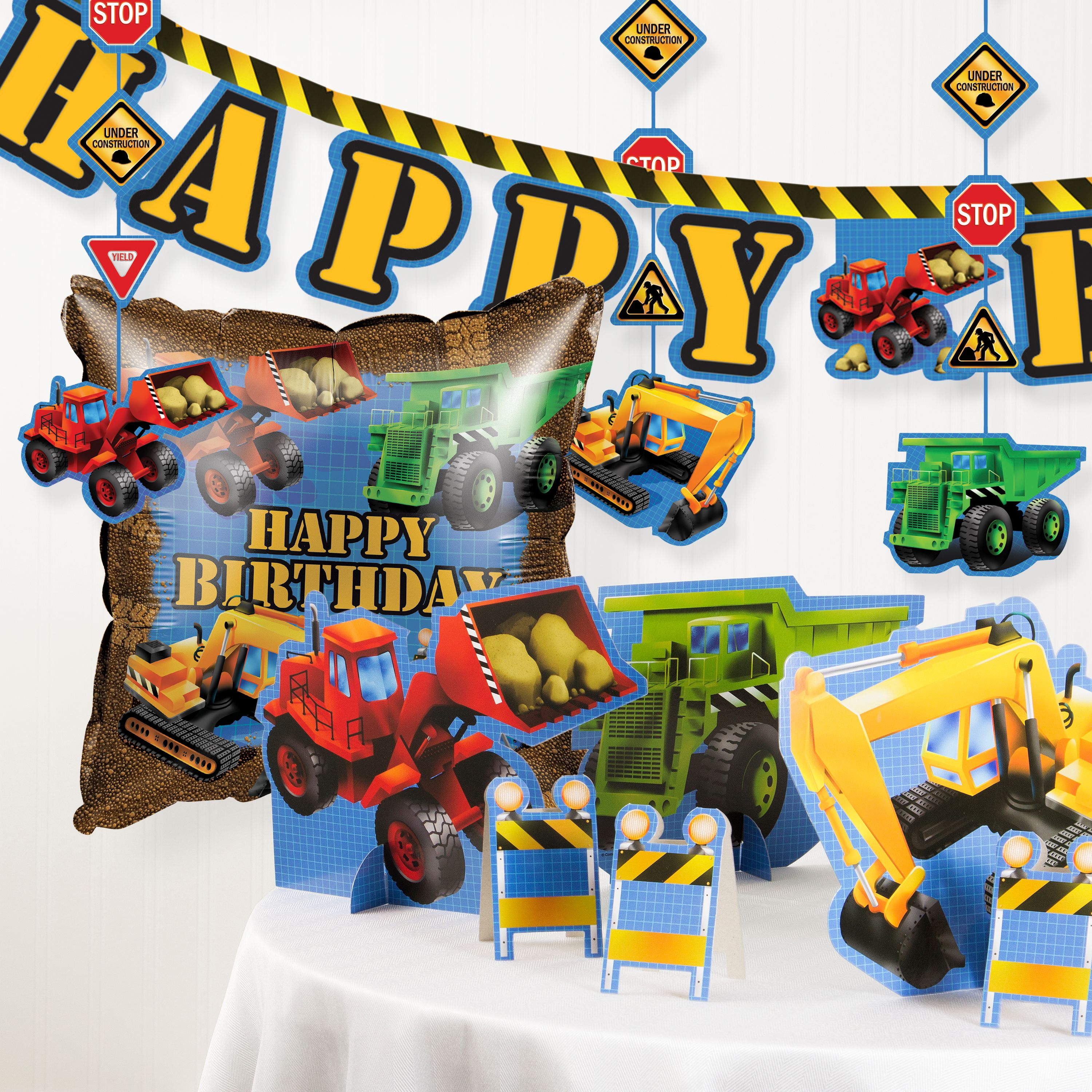 Under Construction Birthday Party Decorations Kit