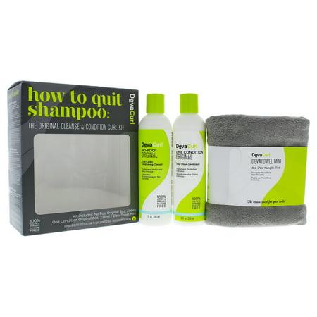 Deva Curl How To Quit Shampoo Kit - 3 Pc Kit 8oz No-Poo Original Zero-Lather Conditioning Cleanser, 8oz One Condition Original Daily Cream Conditioner, Devatowel Mini