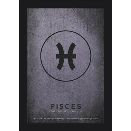 Cancer Zodiac Frame (Pisces - Astrological Sign - Zodiac - Lantern Press Artwork (12x18 Giclee Art Print, Gallery Framed, Black)