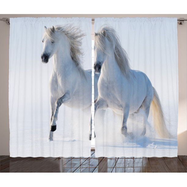 Winter Decorations Curtains 2 Panels Set Galloping Noble Horses On Snow Field Purity Symbol Animals Equestrian Theme Window Drapes For Living Room Bedroom 108w X 90l Inches White By Ambesonne Walmart Com