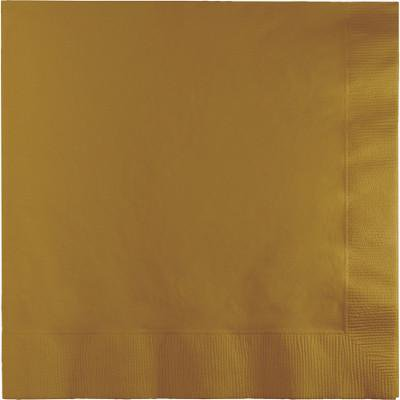 Creative Converting Glittering Gold Dinner Napkins 3Ply 1/4Fld, 25 ct - Gold Dinner Napkins