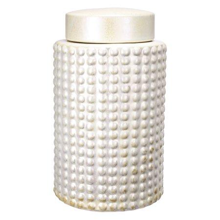 A & B Home White Beaded Ceramic Jar ()