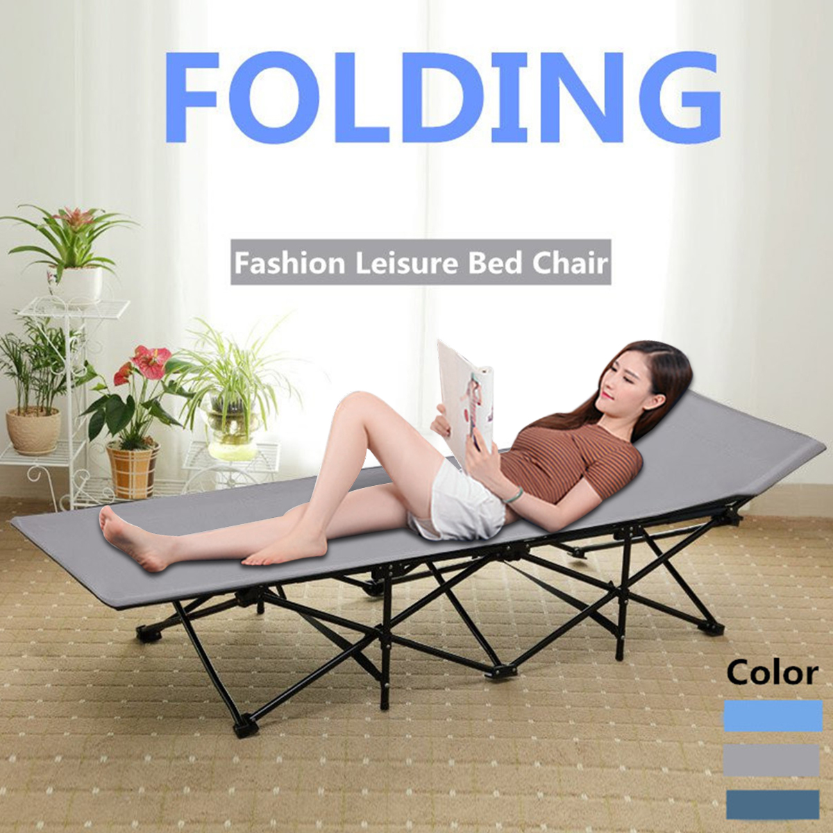 "75"" Folding Garden Lounge Bed Chair Beach Camping Patio Picnic Rest Sun Recliner"
