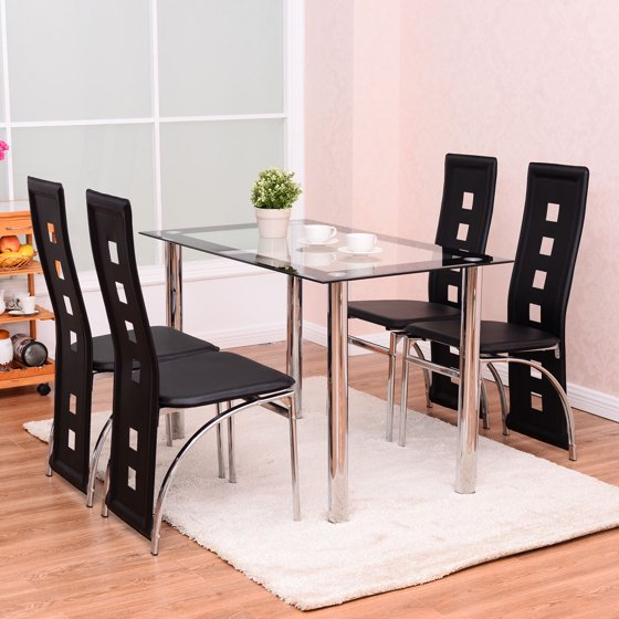 Costway 5 Piece Dining Set Glass Table And 4 Chairs Home Kitchen Breakfast Furniture